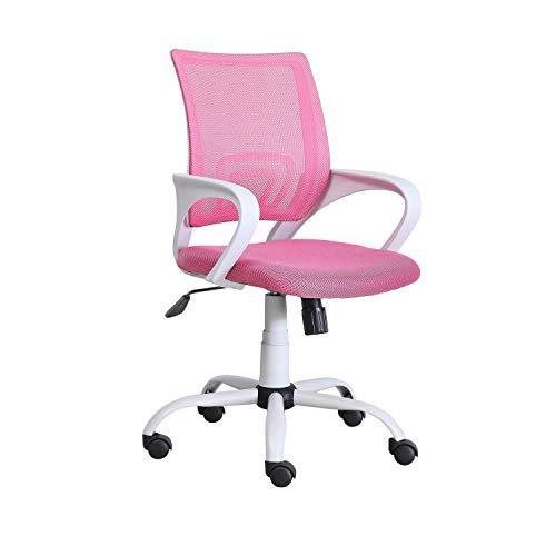 Adec – Phase, Silla de Oficina, Silla de Escritorio, Silla despacho, Color Rosa y Blanco, Medidas: 60 cm (Ancho) x 60 cm (Fondo) x 90-102 cm (Alto)