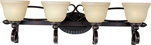 nity 4-Light Bath Vanity, Oil Rubbed Bronze Finish, Wilshire Glass, MB Incandescent Incandescent Bulb , 15W Max., Damp Safety Rating, 2800/2900K Color Temp, Standard Triac/Lutron or Leviton Dimmable, Opal Acrylic Shade Material, 1050 Rated Lumens ()