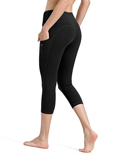 ALONG FIT Yoga Pants for Women with Phone Pockets, Compression Workout Leggings Tummy Control Yoga Shorts Capris ()