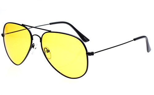 Outray Men or Women Night Vision Aviator Polarized Sunglasses for Driving Black ()
