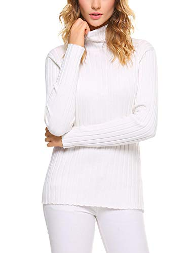 - Aibrou Women's Long Sleeve Solid Lightweight Soft Knit Mock Turtleneck Sweater Tops Pullover White