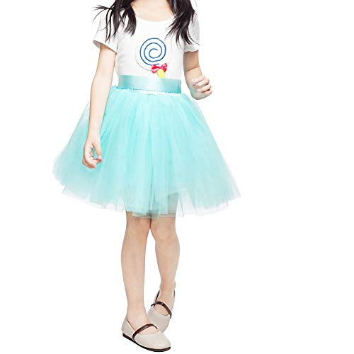 Girls Tulle Skirt 7 Layers Fluffy Tutu Skirts for Kids Princess Ballet Dance Birthday Party (Mint Green) -