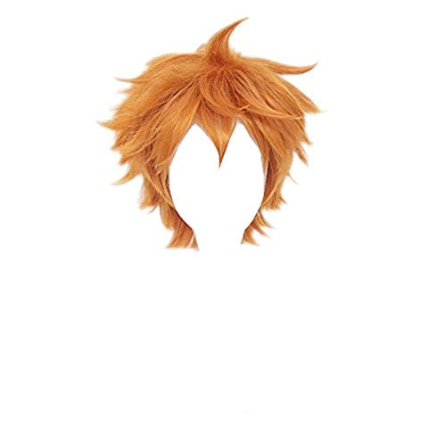 Kadiya Short Orange Anime Cosplay Wig Fashion Synthetic Hair for Boy ()