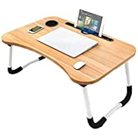 Folding Laptop Bed Table Tray Lap Desk Notebook Stand with ipad Holder Cup Slot Adjustable Anti Slip Legs Foldable for…