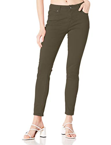 DANNE MORA Women's Classic High Waist Stretch Solid Color Comfy Twill Skinny Pant - Olive Green