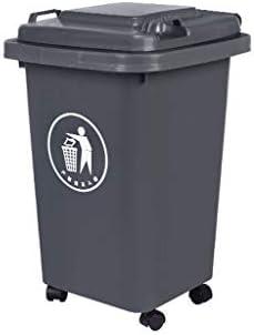 滑らかな表面 車輪付きゴミ箱、プラスチック製多機能蓋付きゴミ箱、屋外移動が簡単なレストランの大容量ゴミ箱 リサイクル可能なデザイン (Color : Gray, Size : 50L)