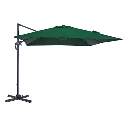Cloud Mounatin 10 x 10 Ft Patio Umbrella Offset Outdoor Umbrella, 8 Ribs 100% Polyester with Cross Base Cantilever Hanging Umbrella, 360 Degree Rotation (Hunter Green)