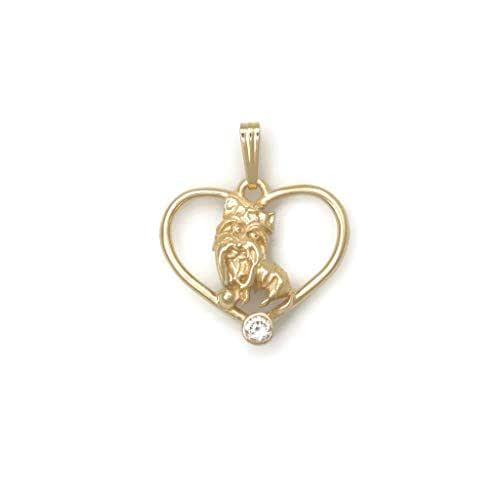 Bridal Shoes Yorkshire: Amazon.com: Diamond Yorkshire Terrier Necklace, 14Kt