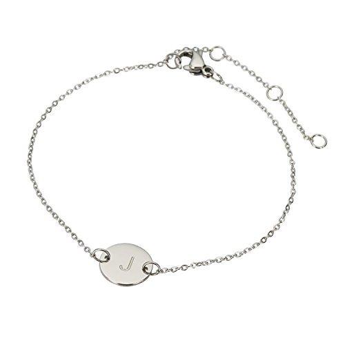 HUAN XUN Stainless Steel J Initial Bracelet for Teens Brithday Gift ()