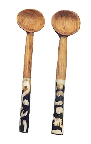 (Set of 2 Maasai Masai Black White Accented Condiment Serving Spoons)