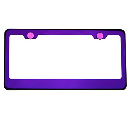 Polish Purple Chrome T304 Stainless Steel License Plate Frame Holder Front Or Rear Bracket with Aluminum Screw (Kia Frame)