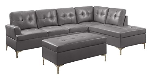 Homelegance Barrington PU Leather Chaise Sofa and Ottoman Set, Gray