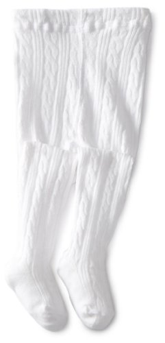 Jefferies Socks Baby Girls' Cable Tight, White, 6 18 -