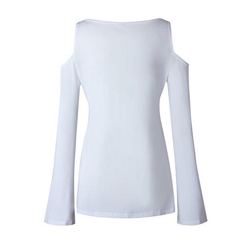 chemisier Elevesee dcontracte femmes jusqu' de Blanc creux dentelle Tops chemise manches longues FSRqZp