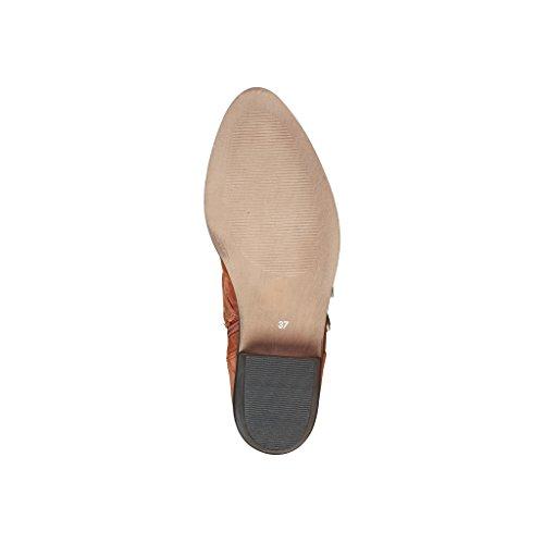 Leather 4114101 Brown Boots 5 Cardin cm 4 Real Pierre Women's Heel qBawOI