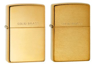 Zippo Lighter Set - Brushed Brass W/lettering and High Polish Brass Pack of 2 (Brushed Lettering Brass)