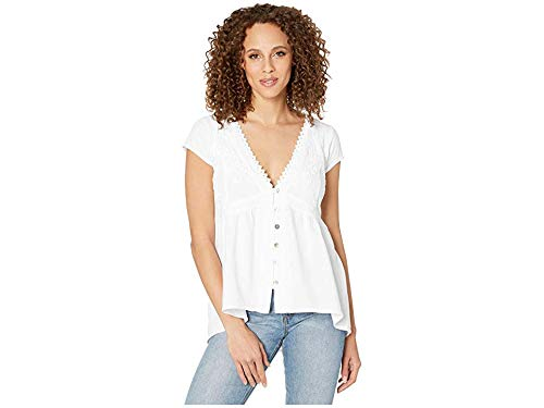 Scully Women's High-Low Cap Sleeve Blouse White Medium