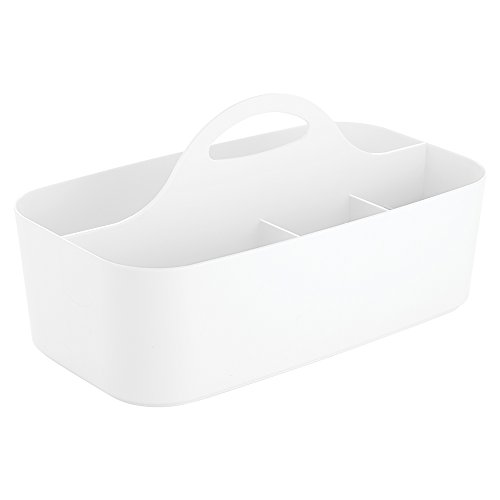 InterDesign Clarity Bath Shower Health and Beauty Supplies Organizer Tote, Small, White