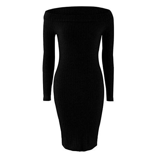 Women Sweater Dress,Neartime Ladies Wrap Slim Pencil Cocktail Sweater Skirt (M, Black)