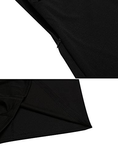 Acevog Femmes Vintage Manches Courtes Mince Robe Crayon En Forme De Soirée Noire