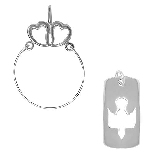 (Raposa Elegance Sterling Silver Cut Out Dove Tag Charm on a Hearts Charm Holder)