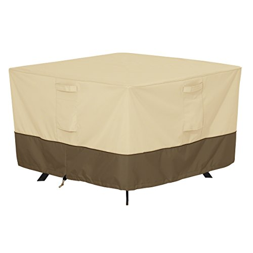 Classic Accessories Veranda Square Patio Table Cover - Durable and Water Resistant Patio Furniture Cover, Medium (55-566-011501-00)