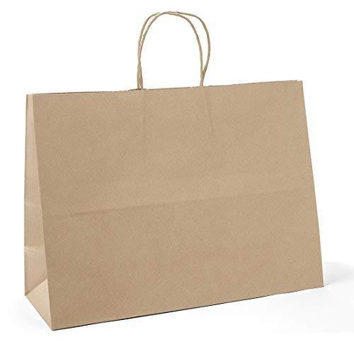 "Halulu Brown Kraft Paper Gift Bags 16x6x12"" 50pcs Handle Sho"