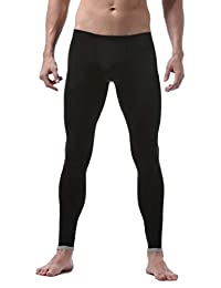 Gocgt Men's Ice Silk Underwear Slim Legging Tight Pant Long Johns