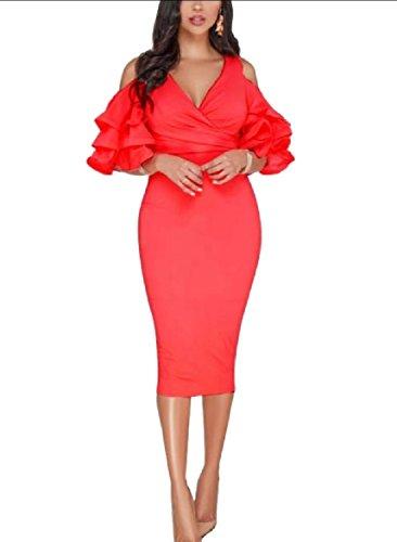 Cut Pencil Out Shoulder Ruched Red Women V Coolred Banquet Falbala Neck Dress tqBzzE