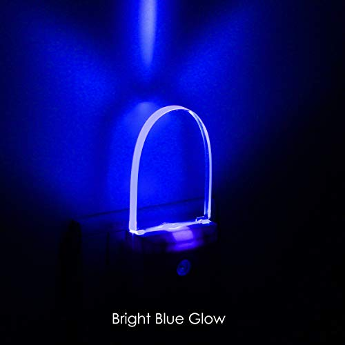 [ Bright Blue Glow ] Plug In LED Night Light with Dusk to Dawn Sensor, Auto ON/OFF, Pack of 2 (Hands Free Indiglo Night Light)