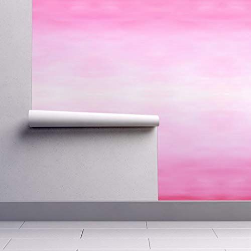 Removable Water-Activated Wallpaper - Pink Ombre Watercolor Fade Ombre Tie Dye Apparel Home Decor Upholsery Ombre by Hexo - 24in x 144in Smooth Textured Water-Activated Wallpaper Roll