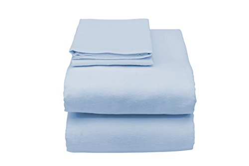 Essential Medical Supply Deluxe Hospital Bed Sheet Set Includes Fitted & Flat Sheet with Pillowcase, Blue