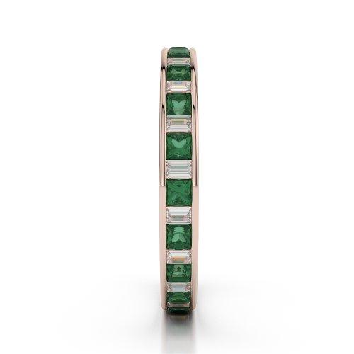 Or Rose 18carats 0,60CT G-H/VS sertie de diamants ronds découpé Émeraude et bague éternité Agdr-1140