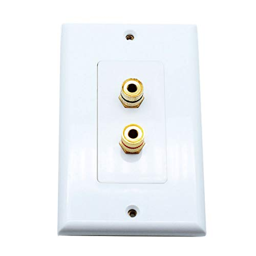 Sscon Speaker Wall Plate Banana Binding Post Decora Style Wall plate for 1 Speaker, White ()