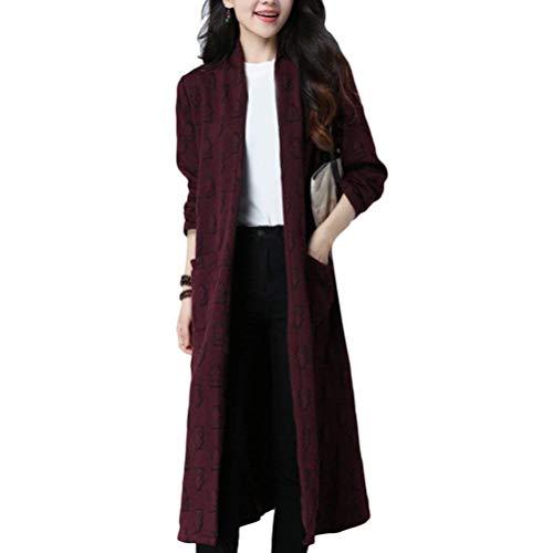 Manches Tricot Impression Longues Style Femme Moderne Manteau Outerwear Vtements Rouge Hiver Fourcher Poches Coat Longues Casual Fonc en Avant Cardigan OZpvfPOWnr