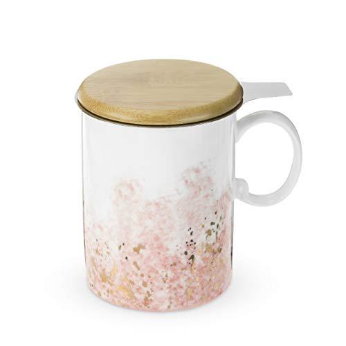 Pinky Up 8080 Bennett Pink Ceramic Tea Mug & Infuser Up Mug, (Bennett Dinnerware)