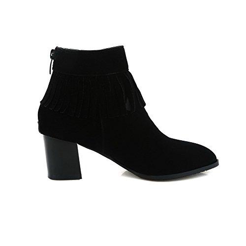 Kitten Women's Heels Suede Zipper Boots Imitated Low Black Top Allhqfashion Solid 081wd0