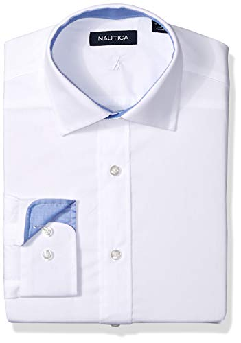Nautica Men's Classic Fit Spread Collar Dress Shirt, White Solid, 17.5 34/35 (Men Dress Shirt Nautica)