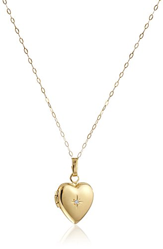 Childs Diamond Heart Locket (14k Yellow Gold Child's Heart Locket with Diamond Pendant Necklace, 13