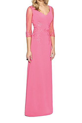 La_Marie Braut Elegant Rosa Langarm Brautmutterkleider Abendkleider Partykleider Promkleider Bodenlang