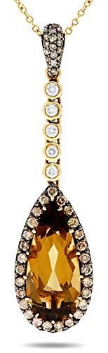 18k Yellow Gold Smoky Quartz White and Champagne Diamond Halo Pendant Necklace (Dia: 2/3 Carat) ()