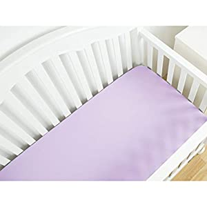 TotMart Organic Cotton Fitted Crib Sheet, Hypoallergenic Breathable Crib Mattress Sheets, Baby Bedding Nursery Bedding Deep Pocket Sheet, Crib Mattress Toddler Bed Cover, 52″x28″ Solid Color (Purple)