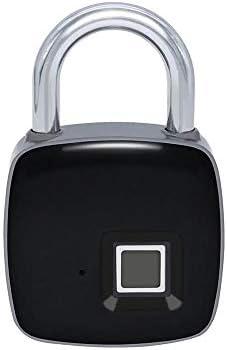 電子ドアロック スマート防水指紋ロックキーレスブルートゥースAPP南京錠ドアロック スーツケース荷物 家のドア 窓ドア 自転車 (色 : Black, Size : One size)