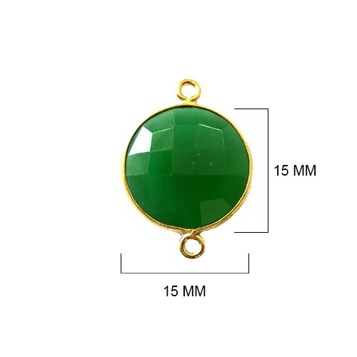 2 Pcs Green Onyx Coin 15mm by BESTINBEADS I Green Onyx Stone I Green Onyx 15mm Beads I Green Onyx Pendant Bead I Green Onyx Pendant Gold I Green Onyx Quartz Crystal ()