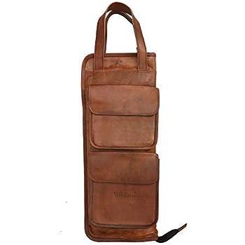 WerKens Hand Made Genuine Leather Drumstick Bag 100% Original Leather  Percussion Drum Stick Bag Holder Mallet Bag with Floor Tom Hooks- DSB003 777df0609c092