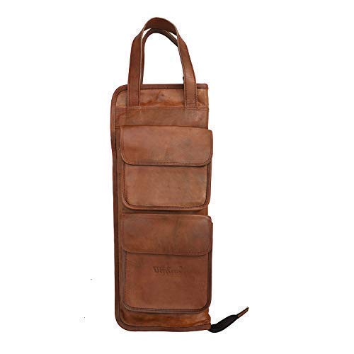 WerKens Hand Made Genuine Leather Drumstick Bag 100% Original Leather Percussion Drum Stick Bag Holder Mallet Bag with Floor Tom Hooks- DSB003