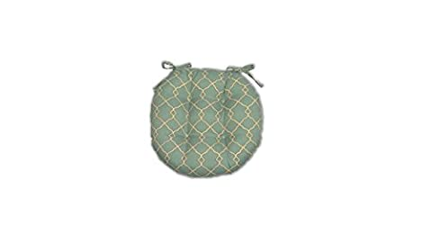 Indoor / Outdoor Round Tufted Bistro Cushion with Ties -- Mineral & Ivory Geometric -- Choose Size (Round Chair Pads With Ties)