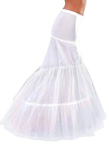 Edith qi Petticoat Enagua 3/4/6 Aros, Largo Miriñaque, Crinolina Vestido de Novia, Aros Ajustable, Un tamaño, Conveniente para el tamaño XS-XXL 2p-blanco