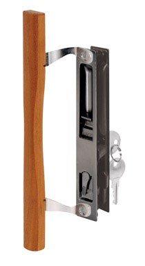 Slide-Co 141638 Sliding Door Handle Set with Wood Pull and Key, Black (Slide Co Locking Locks)