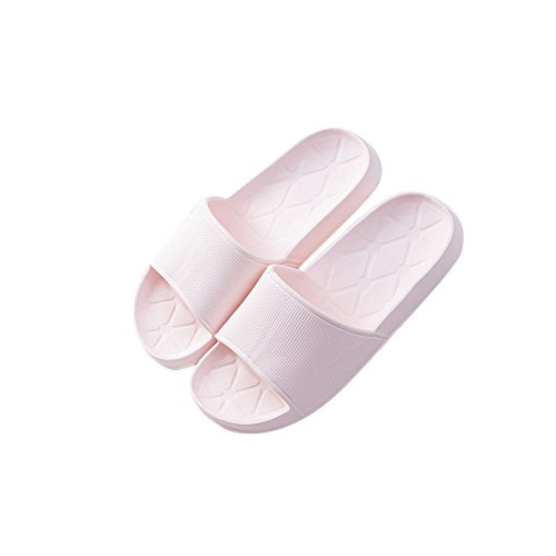 TELLW Summer Indoor Non-Slip Simple Men Women Slippers Couples Bathroom Plastic Slippers Beach Slippers Pink